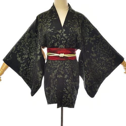 Black Silk Vintage Kimono,Silk Black Haori,Green Metallic flower kimono,Black Si