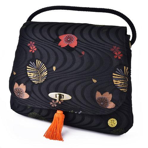 Black Floral Shoulder Bag (Large)