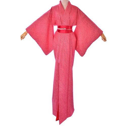 Womens Vintage Red Shibori Silk Kimono/Japanese Silk Robe/Red Kimono