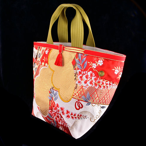 Red Wisteria Japanese Silk Obi Handbagフジ帯ハンドバッグ