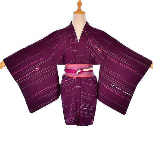 Womens Japanese Purple Silk Vintage Kimono in Pristine Condition,Purple Haori,Pu