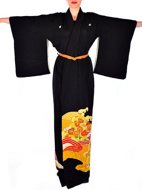 Vintage Embroidered Black Kimono