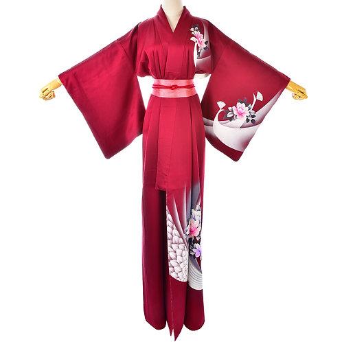 Womens Vintage Burgundy Red Silk Kimono/Japanese Silk Robe