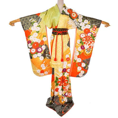 Japanese Vintage silk Orange & Yellow Flower Furisode Kimono /Silk Belt