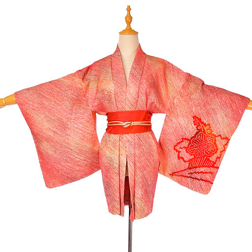 Japanese Red Orange Shibori Silk Vintage Kimono/Red Silk Haori