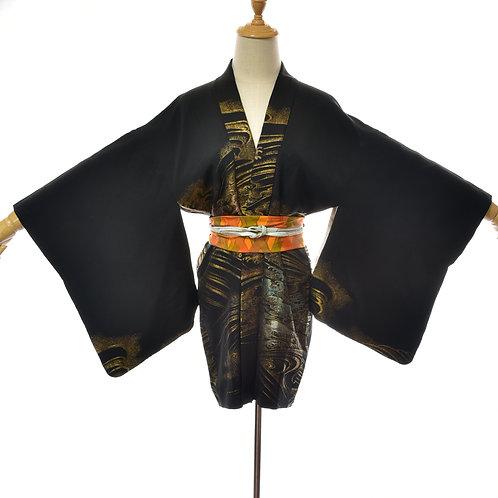 Womens Black Silk Vintage Kimono,Silk Black Haori,