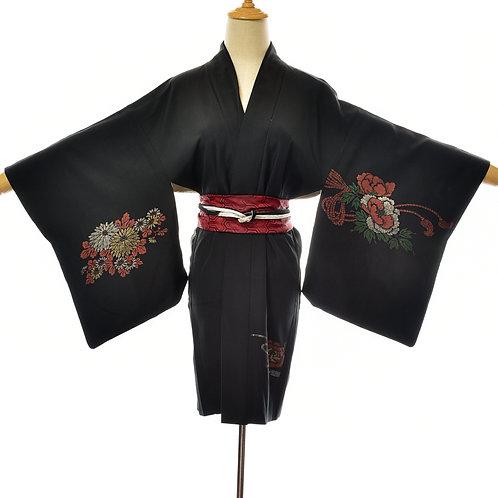 Womens Black Silk Vintage Kimono,Silk Black Haori,Black Silk short vintage jacke
