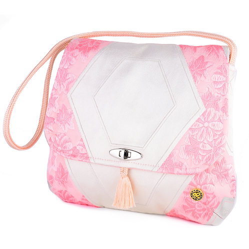Pink & White Flower Shoulder Bag (Large)