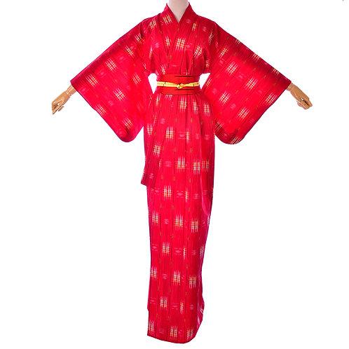 Women's Vintage Red wool Kimono/ Japanese wool robe/Vintage Long Red Dress/Silk