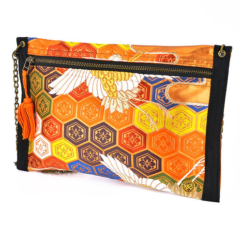 Orange Tsuru Thin Art Zipper Clutch