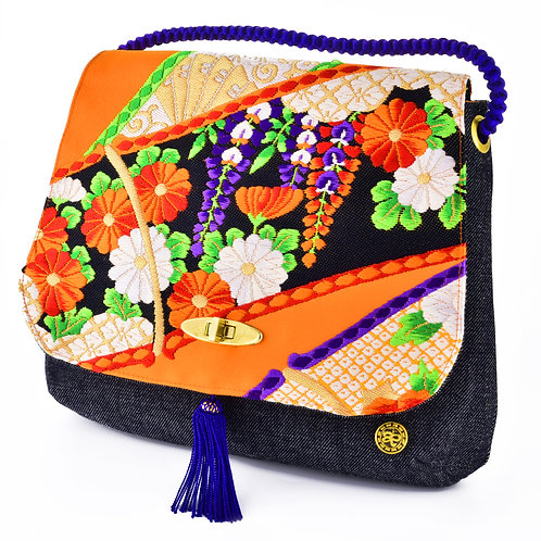 Orange Floral Shoulder Bag (Large)
