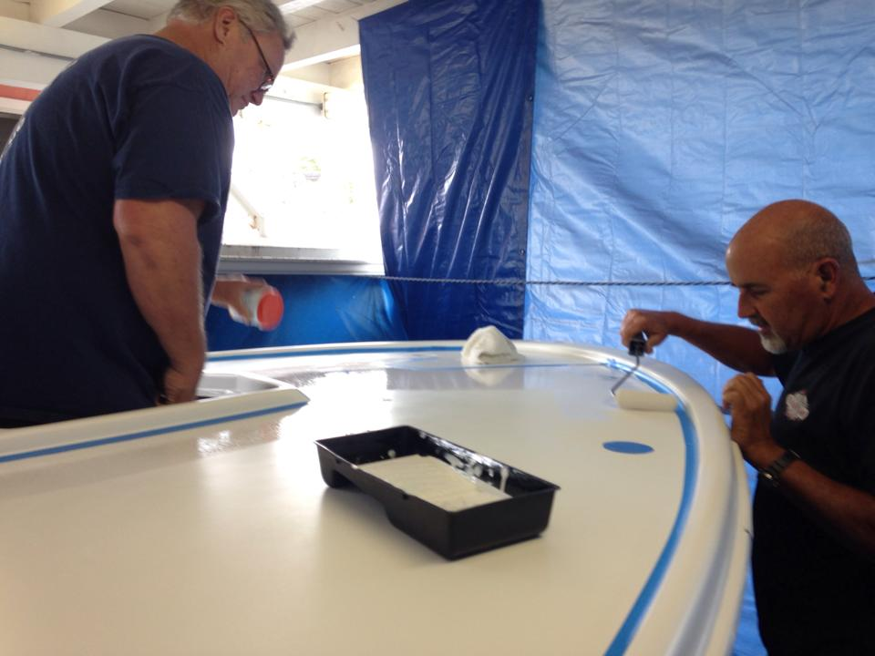 Applying Non-skid to Foredeck
