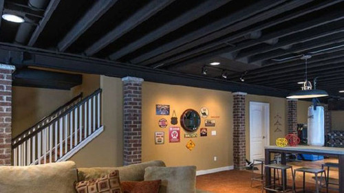 Open-ceiling-design-in-basement-TRIFORCE