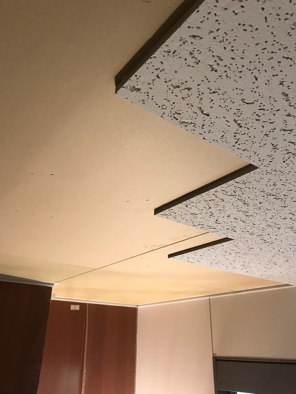天井岩綿吸音板・施工中