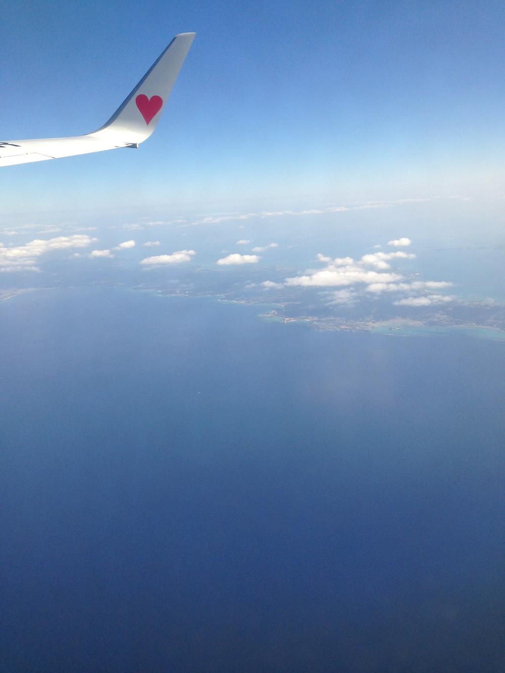 沖縄移住リフォーム飛行機内