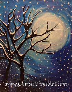 Snowy Night paint party Christi Tims