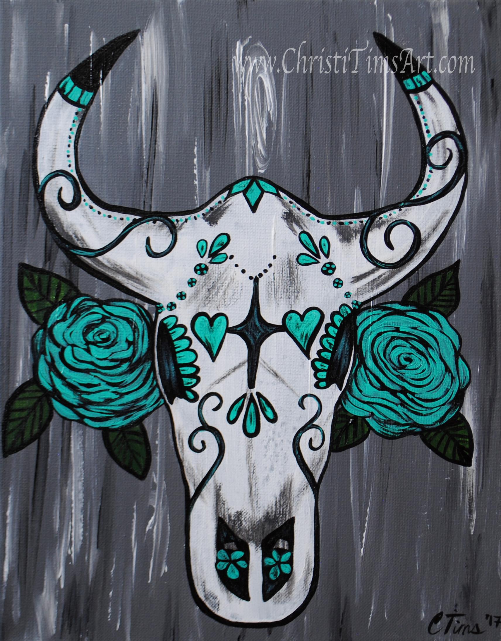 Sugar Skull Bull painting