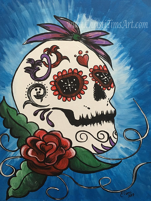Sugar Skull with Red