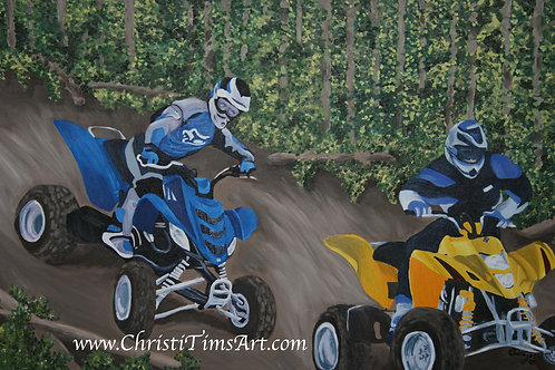"Raptor and Suzuki on Trail 12x8"" paper"