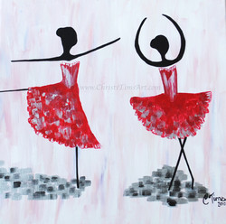 Abstract Red Dancers Christi Tims Ar