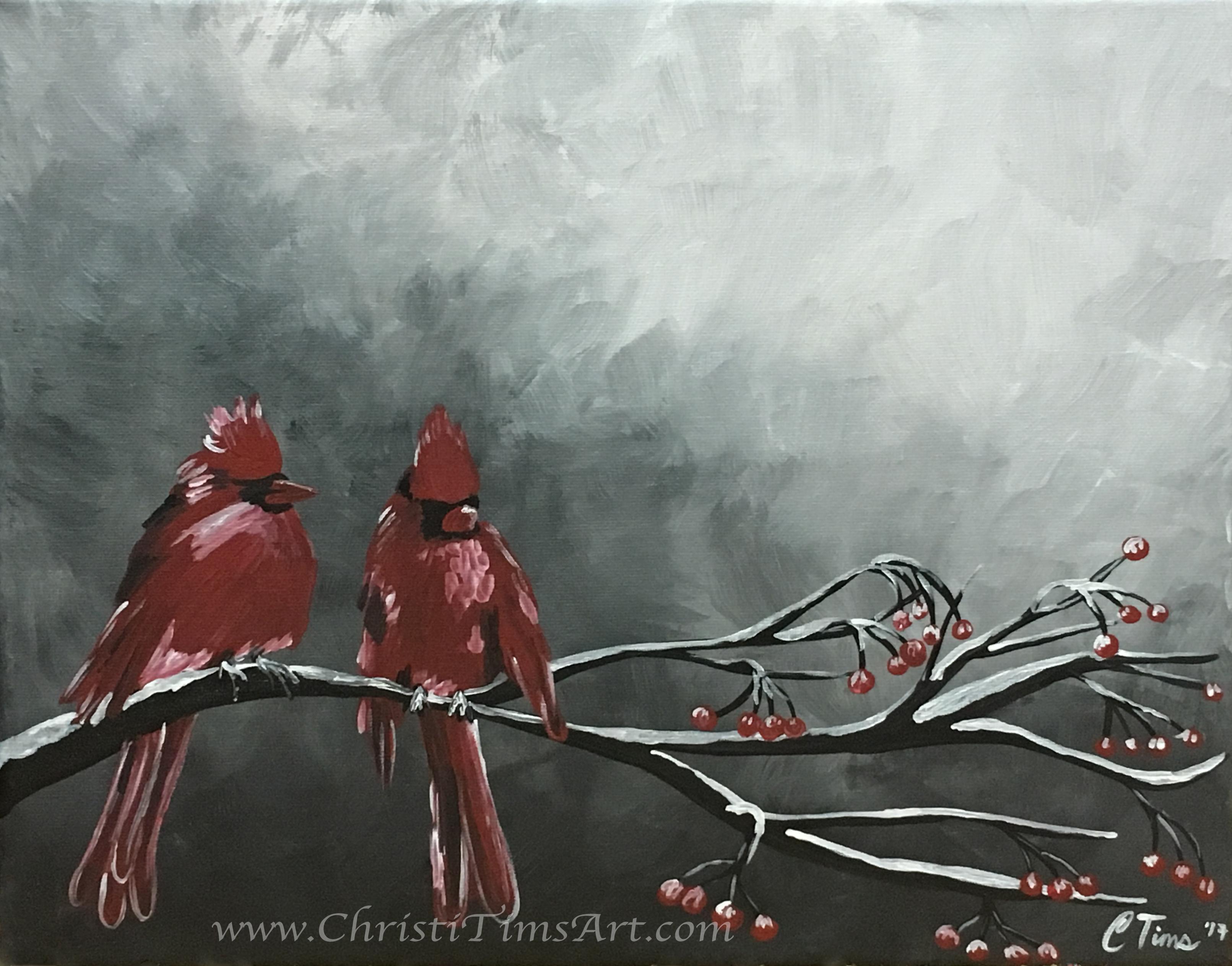 Winter Cardinals Christi Tims Art