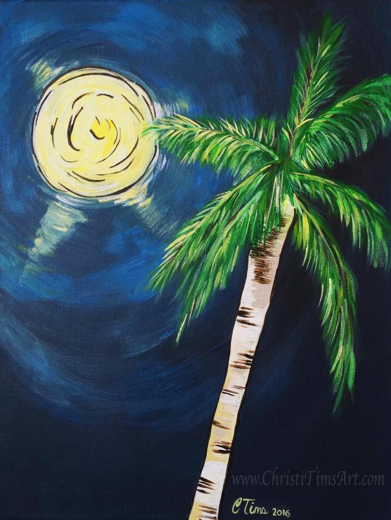 Moonlit Palm Tree Christi Tims Art