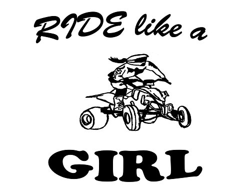 "T-shirt print... ""Ride like a girl"""