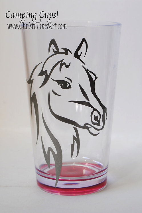 Horse Head plastic cup -pink and silver