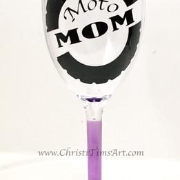 moto mom plastic wineglass decal