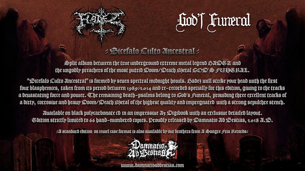 Hadez / God's Funeral - Bicéfalo Culto Ancestral, flyer