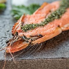 Grilled prawn mentai