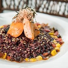 Japanese salmon rice soup