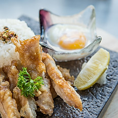 Pan fried pork/chicken cutlet cream rice