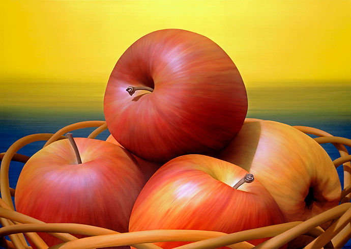 Apples in Straw Basket, Painting by Roberto Azank