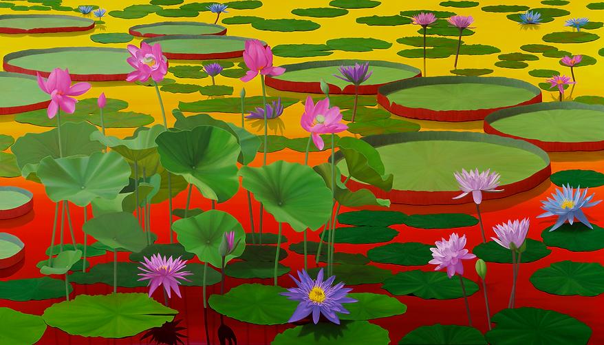 Lotus Painting #2, at Sunset, by Roberto Azank