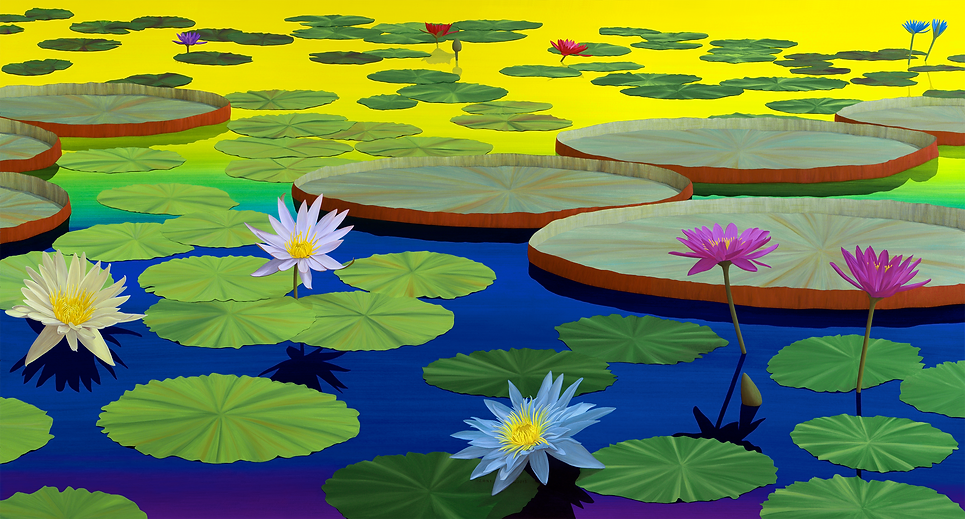 Lotus Painting #3, in Morning Light, by Roberto Azank