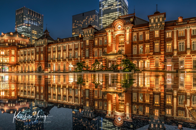 「雨の東京駅」