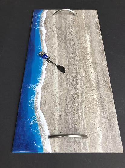 Coastal Tray with Brushed Nickel Handles