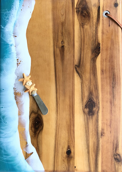 Large Ocean Charcuterie Board with Starfish Spreader