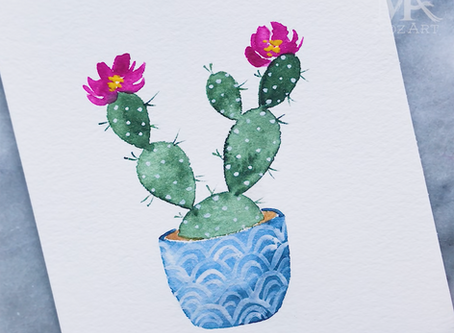 Watercolor Cactus Tutorial 🌵🌸