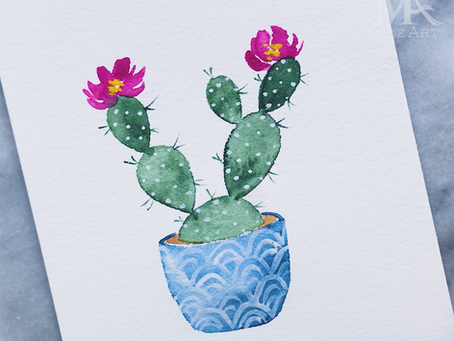 Watercolor Cactus Tutorial 🌵🌸