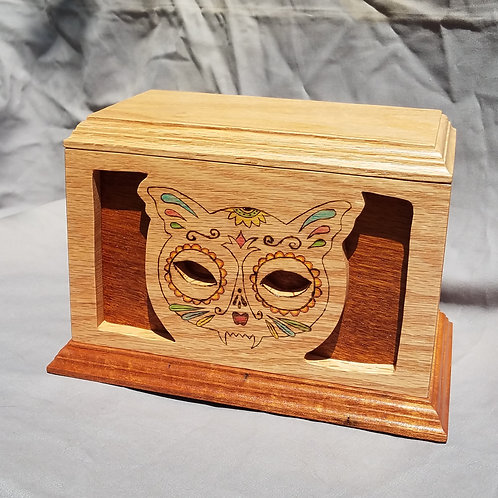 Cremation Urn, Day of the Dead Cat, Oak and Mahogany