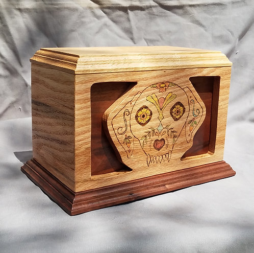 Cremation Urn, Day of the Dead Dog, Spalted Oak and Walnut