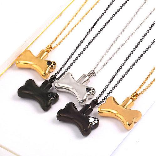 Bone Paw Print Dog Cremation Jewelry Pendant Pet Urn Necklace