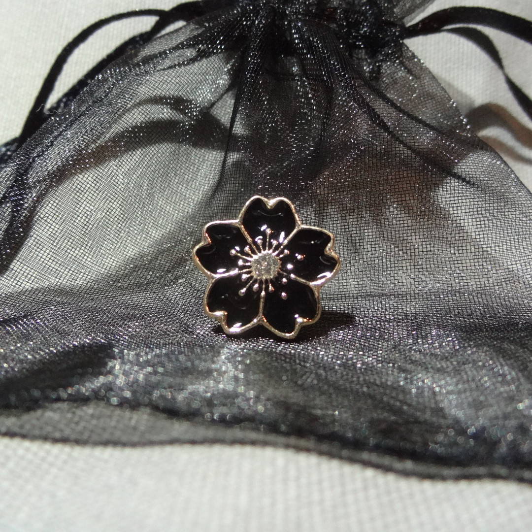 Small Black Mourning Flower Pin