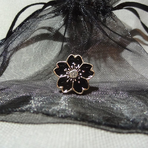 Heart Shaped Black Flower Mourning Pin