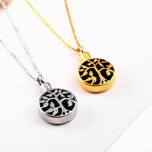 Tree of Life Cremation Urn Necklace Pendant Stainless Steel Memorial