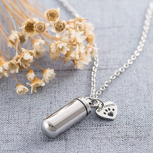 "Pet Paw Heart Charm & Cylinder Urn Pendant Necklace ""Best Friend"""