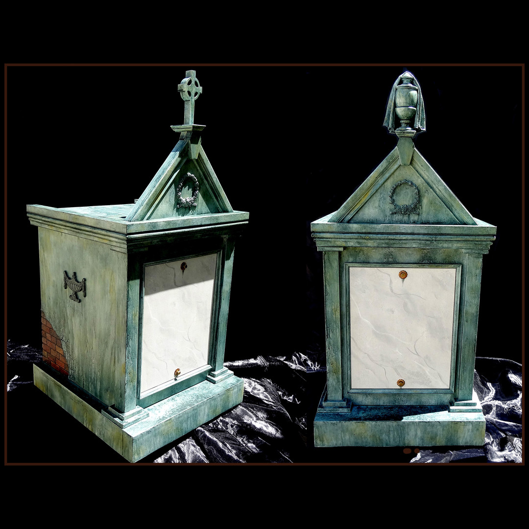 Two styles mausoleum cremation cabinets
