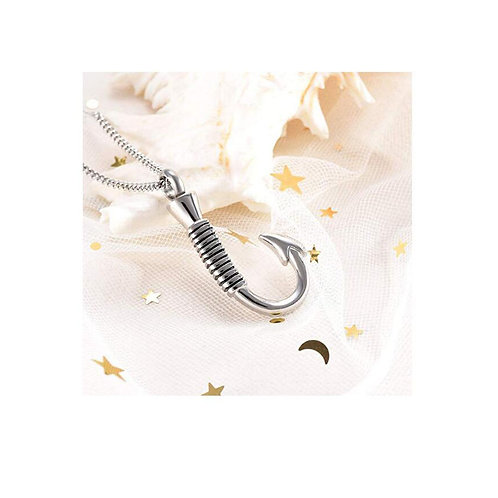 Fish Hook Pendant Cremation Urn Necklace Ashes Keepsake Memorial Jewelry